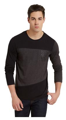 Elaborado Men Slim Fit Henley Neck Solid T-Shirt - Black
