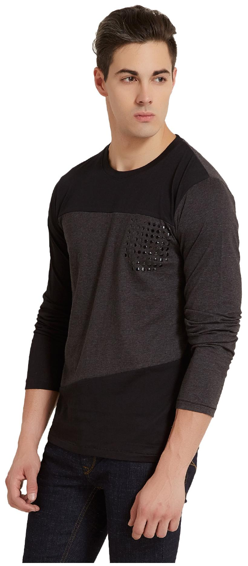 28526808a76 Buy Elaborado Men Slim Fit Henley Neck Solid T-Shirt - Black Online at Low  Prices in India - Paytmmall.com