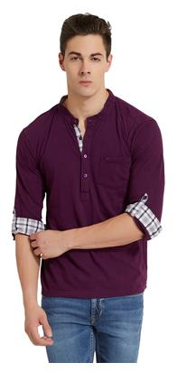 Elaborado Men Slim Fit Henley Neck Solid T-Shirt - Purple