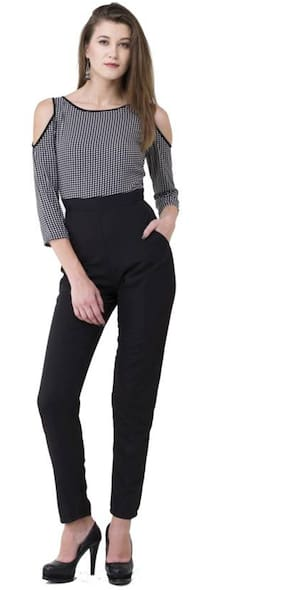 ForeverYoung Checked Jumpsuit - Black