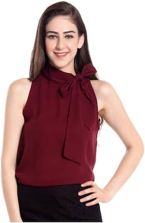 Women Solid Tie-up Top