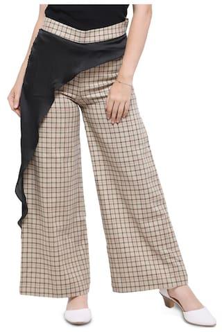 Elegore Women's Straight Fit Layered Checks Pant