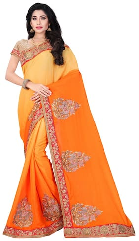 Elephant Pallu Shaded Design Chinon Saree in Orange