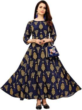 Elevate Women Women Cotton Ethnic motifs Anarkali Kurta - Navy blue