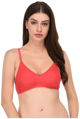 Elina Cotton Solid Peach T Shirt Bra Women