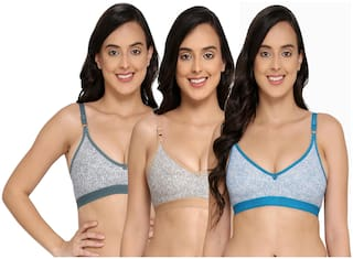 Elina Set of 3 Non Padded Cotton T-Shirt Bra - Multi
