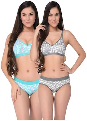 Elina Women Grey-Green Printed Cotton Hosiery Non-Padded C-Cup Bra And Panty (Set Of 2)