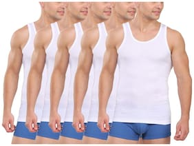 ELK Men's Cotton White Sleeveless Vest Innerwear  Pack of 5