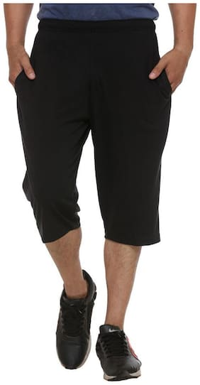 ELK Mens's Black Cotton Three Fourth Shorts Capri Trouser Clothing Set