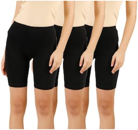 Women Cotton Skinny Shorts ,Pack Of 3