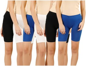 Women Cotton Skinny Shorts ,Pack Of 6
