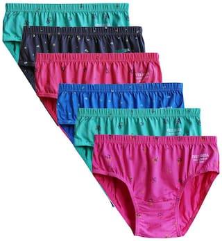 ELK Womens brief 100% Cotton Ladies Printed Bright Panty Innerwear Inner Elastic 6 Piece Combo