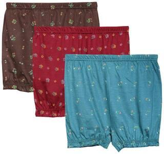 ELK Womens Printed Panty Bloomer Drawer Skirt Brief Innerwear Inner Elastic 3 Piece Combo