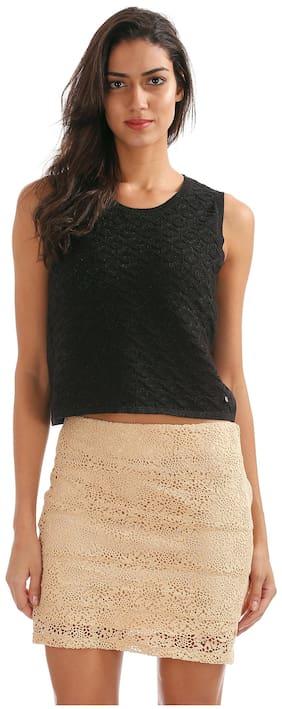 ELLE Black Cotton Metallic Knit Cropped Top