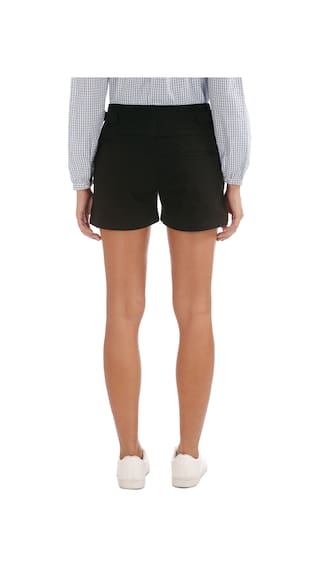 Elle Black Cotton Slim Fit Zip Up Shorts