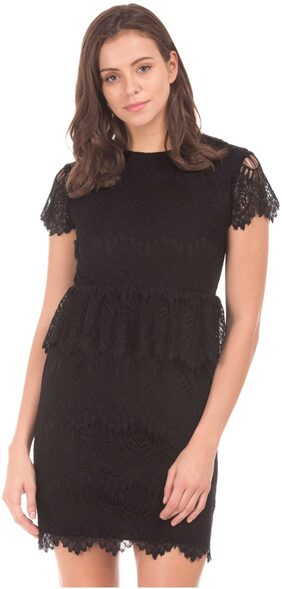 ELLE Black Nylon Lace Sheath Dress