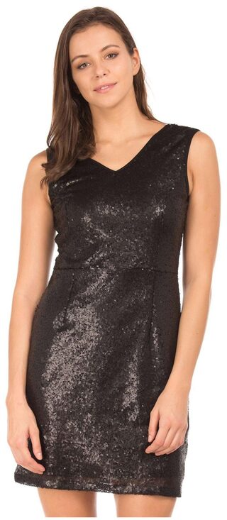 ELLE Black Polyester Sequin Sheath Dress