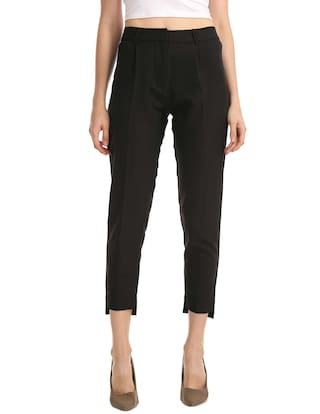 Polyester Elle Black Trousers Hi Low Hem 77fzxCw5q