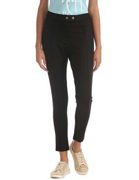 ELLE Black Rayon Slim Fit Stretch Trousers