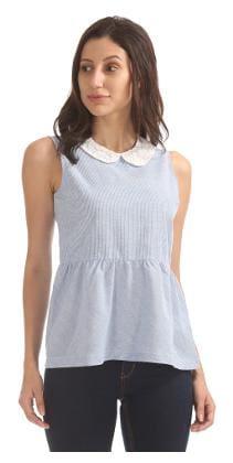 Elle Blue Cotton Striped Peplum Top