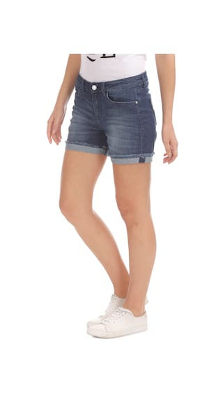 Denim Slim Cotton Shorts Elle Blue Fit Washed Ewgx55X1q
