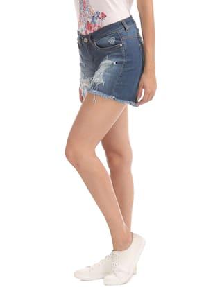 Denim Blue Distressed Shorts ELLE Cotton afdxtvv