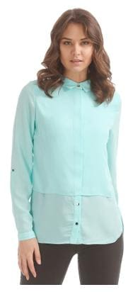 Elle Blue Polyester Concealed Placket Layered Top