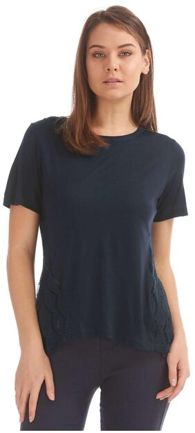 ELLE Blue Viscose Lace Panel Knit Top