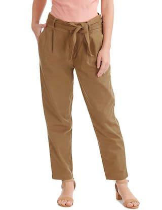 ELLE Brown Cotton Regular Fit Tie Waist Trousers