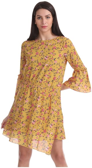 ELLE Polyester Printed Fit & Flare Dress Yellow