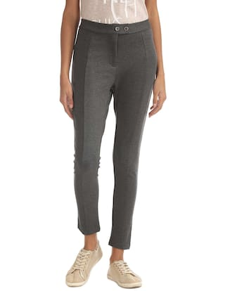 Elle Grey Rayon Slim Fit Stretch Trousers