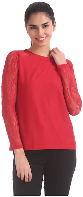 ELLE Women Polyester Solid - Regular Top Red