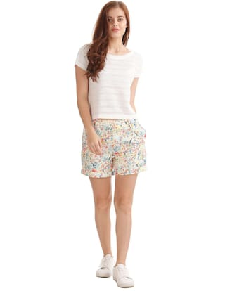 Polyester Slim Multi Shorts Printed ELLE Fit nYRp7wxqx4