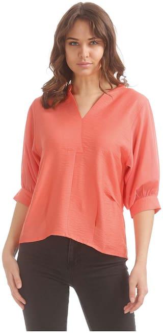 ELLE Women Cotton Solid - A-line top Orange
