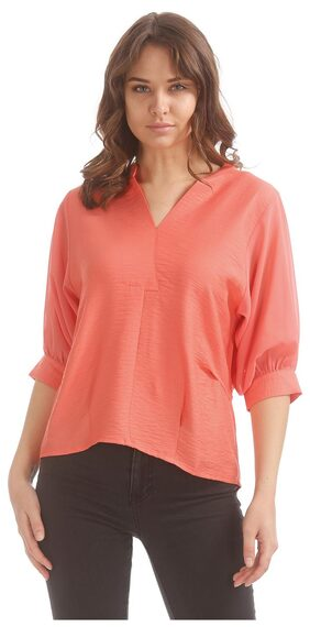 Elle Orange Polyester Sheer Sleeve Mock Placket top