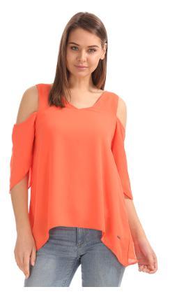 Elle Orange Polyester Dip Hem Cold Shoulder Top