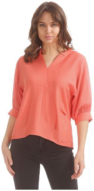 Elle Orange Polyester Sheer Sleeve Mock Placket top