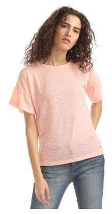 Elle Pink Polyester Flared Sleeve Slub Top