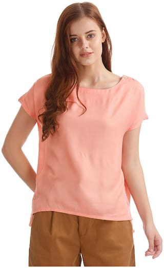 ELLE Women Cotton Printed - A-line Top Pink