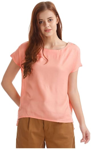 ELLE Women Silk Solid - A-line Top Pink
