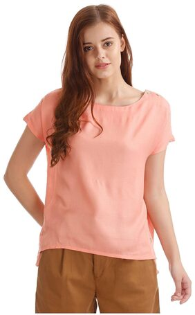 ELLE Women Silk Solid - A-line Top Pink