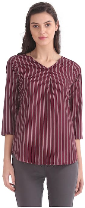 ELLE Women Polyester Striped - Regular Top Red
