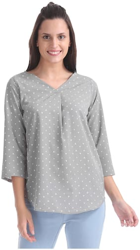 ELLE Women Polyester Printed - Regular Top Grey