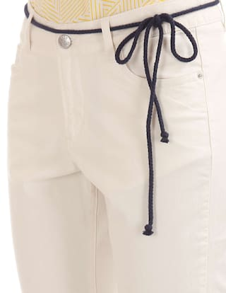 ELLE Puncture Roll Patch White Up Cotton Chinos wzFrSz