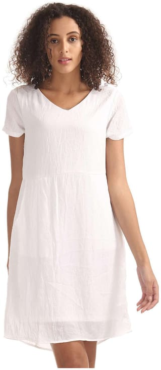 ELLE Viscose Solid A-line Dress White