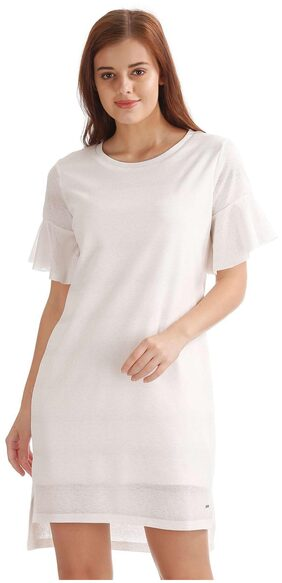 ELLE White Polyester High Low Hem Shift Dress