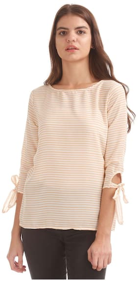 ELLE White Polyester Cut Out Back Striped Top