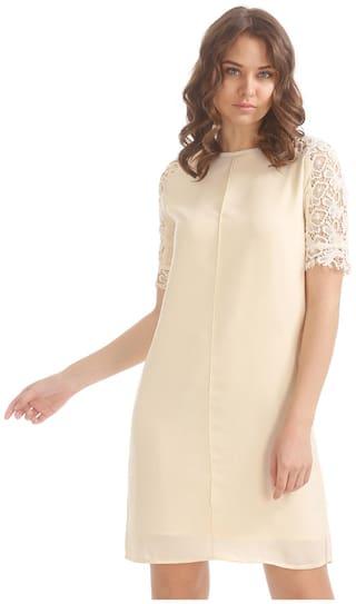 ELLE White Geometric A-line dress