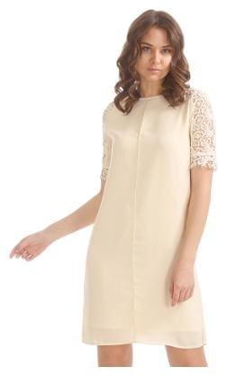 ELLE Cotton Geometric A-line Dress White