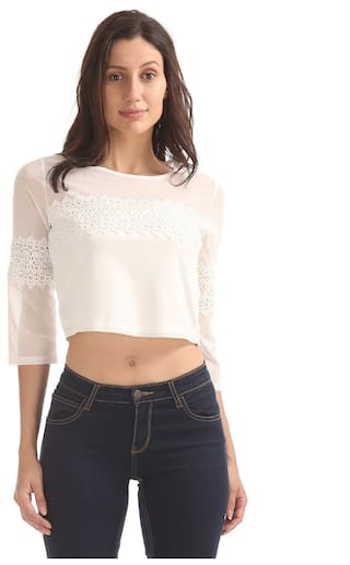 Elle White Polyester Lace Panel Mesh Top